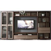 China 2017 New Walnut Wood Furniture Design Living room Combined TV Wall Units by Tall Cabinets and Floor stand & Hang Racks wholesale