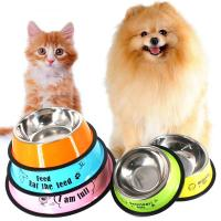 China Stainless Steel Pet Bowl Travel Feeding Feeder Water Bowl For Dog Cat Anti-skid Dry Food Cat Bowl Drinking Water Dog Dis on sale