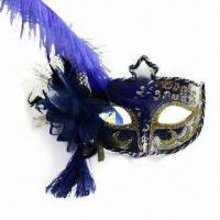 China Party Mask with Glitter Appearance, Made of Plastic, Various Colors are Available wholesale