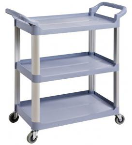 China Grey Kitchen PP 250KG 3 Shelf Utility Cart With Wheels on sale