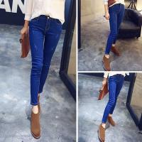 High Waist Womens Skinny Jeans Stretch With Metal Bottons Casual Jeans