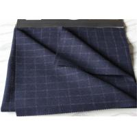 Window Pane Suit Medium Tartan Wool Fabric British Style Navy With White Line