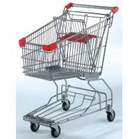 China Custom Rolling Shopping Basket Wire Cart On Wheels Metal Frame Asia Style wholesale