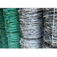 China BWG 8 - 20 Green Barbed Wire , Hot Dipped Galvanized Airport Security Fence wholesale