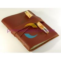 China OEM customized soft leather journals/diary/notebooks with NICE elastic Colsure & pen on sale