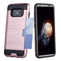 China Dual Layer PC / TPU Bumper Credit Card Holder Protective Case For Samsung Galaxy S8 wholesale