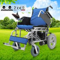 China Multi Sizes Handicapped  Electric Folding Wheelchair With Swing Away Armrest wholesale