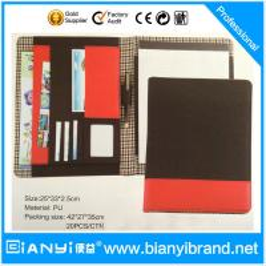 PU luxury custom padfolio / good quality pu leather zipper compendium folder / logo presen