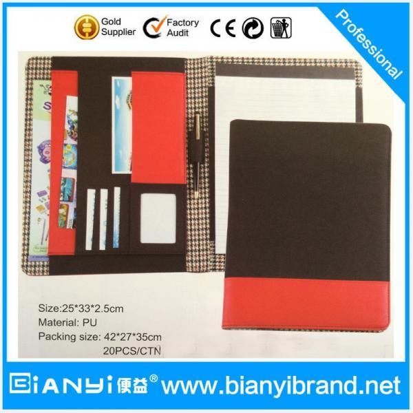 Quality PU luxury custom padfolio / good quality pu leather zipper compendium folder / logo presen for sale