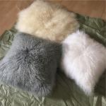 Mongolian Fur Decorative Pillow Mongolian Lamb Fur Throw Pillow Pure Mongolian Throw Pillow