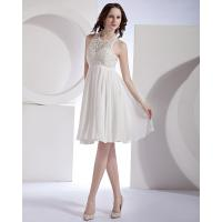 China Halter Lace Neckline Short Cocktail Party Dresses with Open back , white wholesale