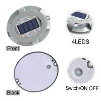 China Solar Road Stud Lighting Aluminum 4-LED Outdoor Road Driveway Dock Path Ground Light Lamp Warm White And White Light on sale