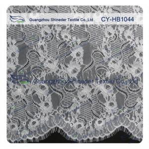 China Big Bridal Eyelash Chantilly Lace Trim / Scalloped Lace Fabric wholesale