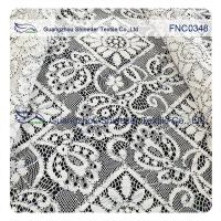 China 150CM Cotton Nylon Polyester  Lace Fabric Rhombic Floral Black Cord wholesale