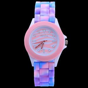 New arrive fashion Rainbow Color Watch women Silicone Watch Leopard Geneva Watch with Zebra Face watch