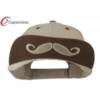 China Beige Mustache 6 Panel Cotton Baseball Caps for Adult and Unisex wholesale