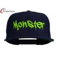 China Navy Halloween Monster Embroidered Snapback Cap with Adjustable Plastic Closure wholesale