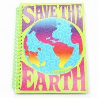 China Art Paper Spiral Notebook with Gold Power, Measures 7 x 5 x 0.3-inch, ODM Orders are Welcome wholesale