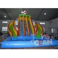 China Super Boy 5 Lanes Inflatable Giant Slide For Huge Inflatable Swimming Pool wholesale