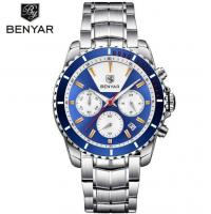 China Benyar Men Steel Band 3 atm Waterproof Chronograph Date DIsplay Quartz Business Wrist Watch BY-5128 wholesale