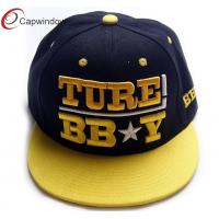 China Yellow 3D Embroidered Flat Brim Baseball Hats 5 Panel Camper Cap wholesale