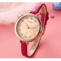 China Fashion Creative Zircon word nail with petal quartz watch Rose Red Belt Ladies Leahter Wrist Watches 8007L wholesale