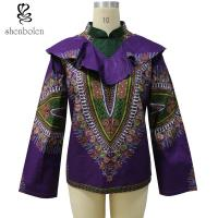 China Spring / Autumn Women African Print Tops Jackets Purple Color Dashiki Fabric wholesale