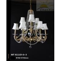 China Lobby Chandelier Pendant Lights With Crystal Chain Fabric Lamp Shaded wholesale
