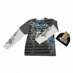 China Yarn Dye Long Sleeve, Printed Stripes, LS Top Printed Hangsdown, with Beanie wholesale