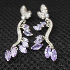 China Luxurious wedding jewelry  AAA cubic zircon earrings, daisy amethyst metal casting jewelry  dangling earrings for women wholesale
