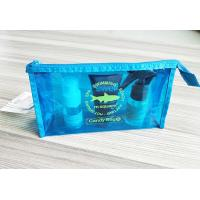 China Bright Blue Waterproof Travel Kit Zipper Cosmetic Pouch Transparent Vinyl Make-Up Pouch for Travel and Beach wholesale