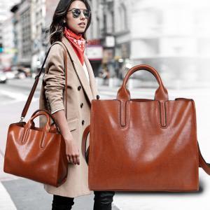 China Oil Pu Leather Shoulder Bag Vintage , Womens Leather Laptop Bag With Long Belt Black wholesale