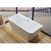 Glossy Solid Surface Acrylic Free Standing Bathtub Indoor Square Shaped