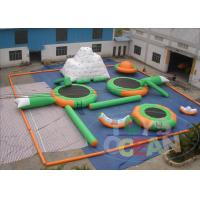 China Green Mini Inflatable Water Park Inflatable Backyard Water Park 30 Players 090MM EN15649 wholesale