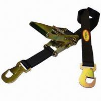 China Black Polyester Ratchet Tie Down Strap with Snap Hook wholesale