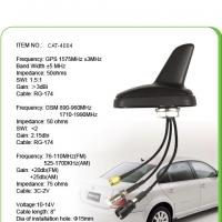 China Black AM FM Car GPS Antenna With 0.3M Sticker , SMA Male Connector wholesale