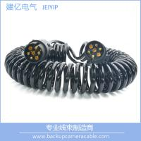 China High Quality Black 7 Pin Spiral Cable Extension Trailer electric coil Cable wholesale