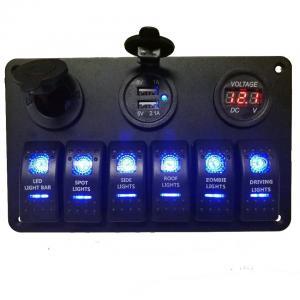 China Waterproof Marine 12v 24v Boat Car Rocker Switch Panel With Digital Voltmeter USB Charger Socket wholesale