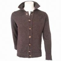 China Men's Leisure Woolen Cardigan/Jacket/Coat, Comfortable and Fashionable, Comes in Brown wholesale