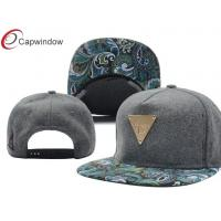 China Personalized 5 Panel Wool Baseball Caps With Paisley Printed Peak wholesale