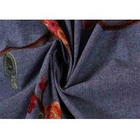 Buy cheap Embroidered Natural Denim Fabric , Light Wash Stretch Jeans Material from wholesalers