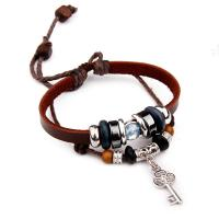 Vintage Womens Leather Bracelets With Charms , Lock And Key Bracelet For Couples