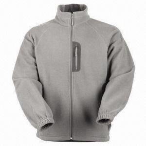 China Men's Fleece Jacket with Nylon Zipper wholesale