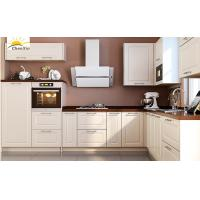 China Jane White Wood Kitchen Cabinets Marble Surface Aluminum Alloy Edge Banding wholesale