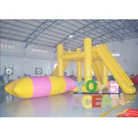 China 4m Hight Yellow / Green Lake Inflatable Water Tower With Jumping Bolb CE M2 wholesale