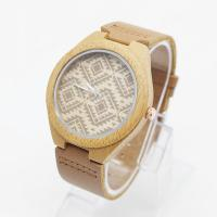 China OEM Logo Unisex Bamboo Wrist Watch Leather Belt Watches For Mens wholesale