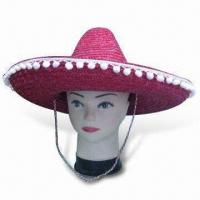China Straw Hat, Sombrero, Made of 100% Woven Wheat, Various Colors are Available wholesale