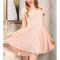 China Cotton Lace Short Flared Dresses Above Knee Length For Women on sale