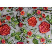 China Bridal 3D Floral Embroidered Mesh Fabric , Red Flower Bridal Embroidered Net Fabric wholesale