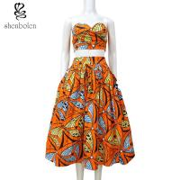 China Crop Top African Print Two Piece Dresses Suits Set Multi Color Customized Size wholesale